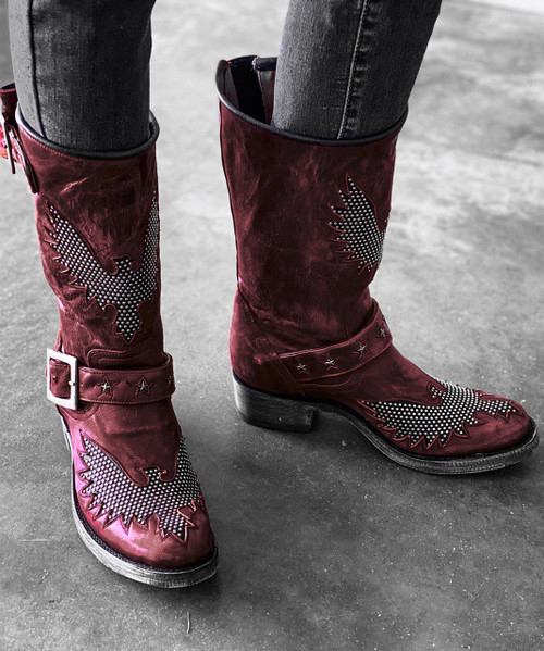 "L1357-4 OLD GRINGO IRON EAGLE 12"" RED DISTRESSED RIVETED BIKER BOOTS"