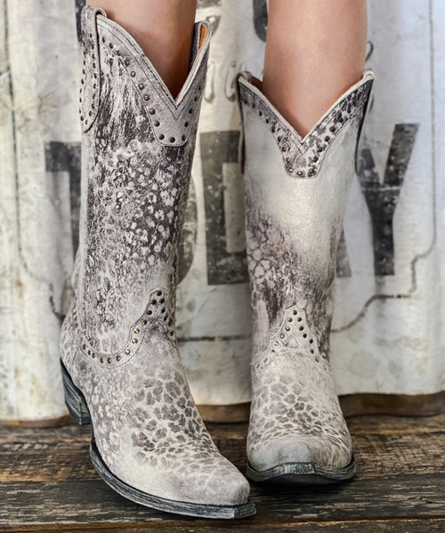 "L 421-34 OLD GRINGO NEWPORT 13"" GREY LEOPARDITO LEATHER BOOTS"