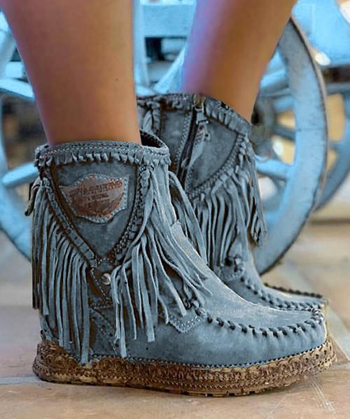EL VAQUERO Cloe Apex Dust Blue Leather Wedge Moccasin Boots