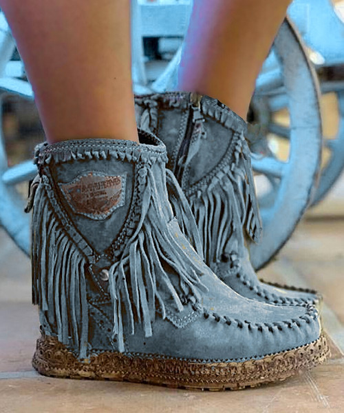 EL VAQUERO Cloe Apex Dust Blue Leather Wedge Moccasin Boots