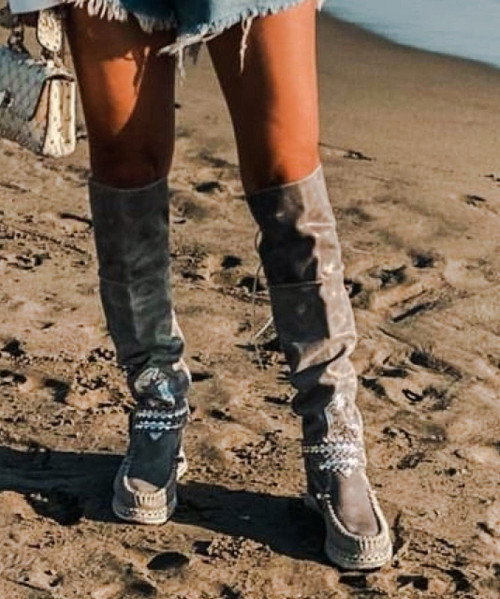 EL VAQUERO Huntress Apex Stone Tall Boho Brushed Leather Boots