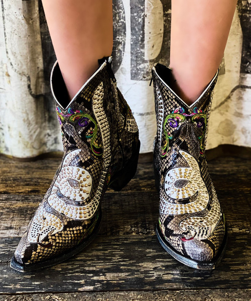 "L1177-13 OLD GRINGO SNAKE CAPRE DIAMANT MULTI 7"" ANKLE BOOTS 4L SNIP TOE/9964 WALKING HEEL"