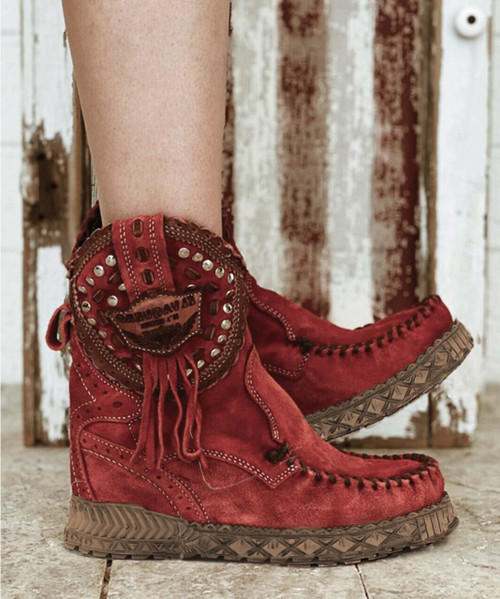 EL VAQUERO Phoebe Silverstone Red Leather Wedge Moccasin Boots