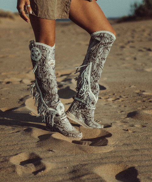 EL VAQUERO Kaleesi Desnake Blanco Tall Wedge Moccasin Leather Boots