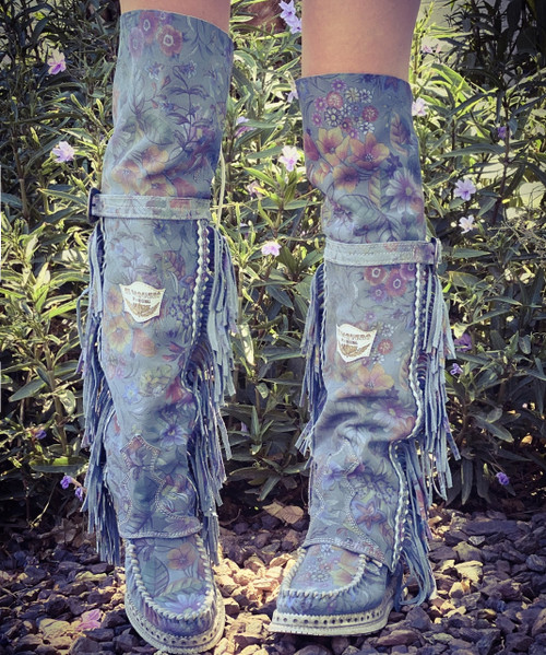 EL VAQUERO Coleen Drifter Freedom Heavenly Blue Wedge Moccasin Tall Fringe Boots