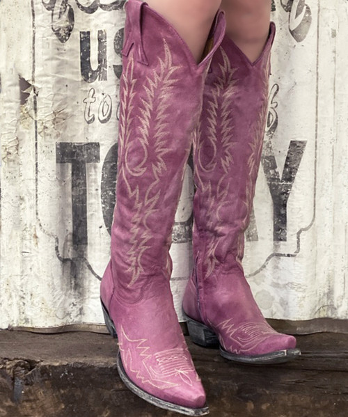 """L1213-32 OLD GRINGO MAYRA 18"""" VESUVIO PINK EMBROIDERED BOOTS - EXCLUSIVE TO Boot Junky"""