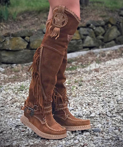 EL VAQUERO Kaleesi Silverstone Carmel Mou Wedge Moccasin Leather Boots