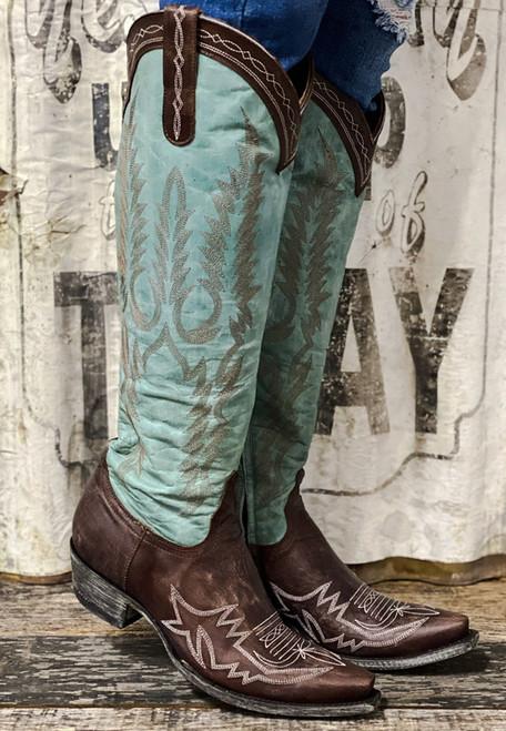 "L3451-1 OLD GRINGO MAYRA BIS VESUVIO AQUA BRASS 18"" BOOTS - Boot Junky Exclusive"