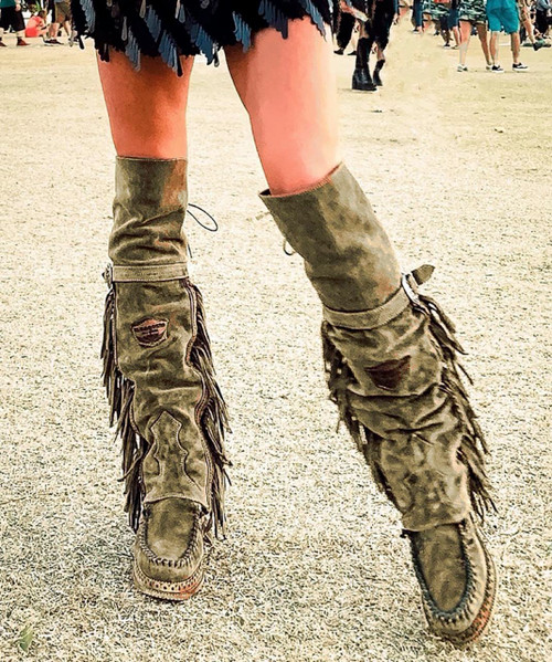 EL VAQUERO Coleen Drifter SILVERSTONE OLIVE Wedge Moccasin Tall Fringe Boots