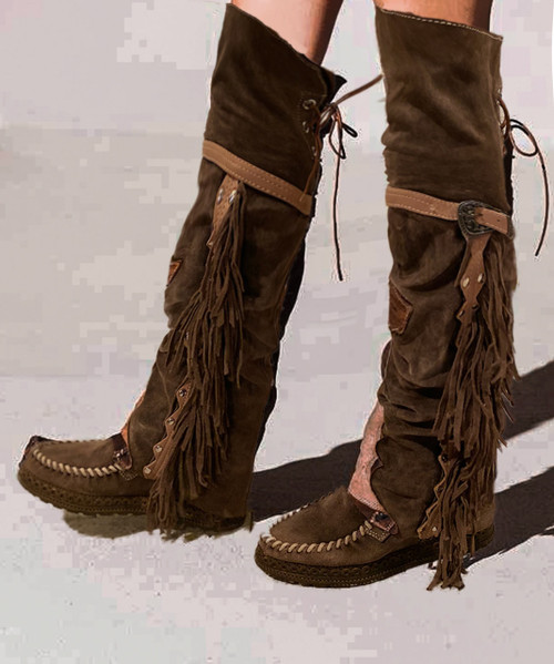 EL VAQUERO Coleen Drifter SILVERSTONE BROWN Wedge Moccasin Tall Fringe Boots