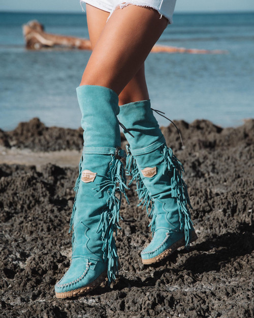 EL VAQUERO Coleen Drifter SILVERSTONE MARINE TURQUOISE  Wedge Moccasin Tall Fringe Boots