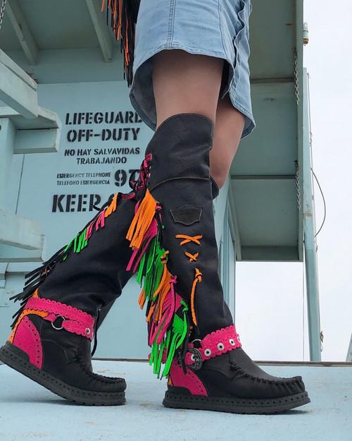 EL VAQUERO Delilah Fluotrip Multi Color Leather Wedge Moccasin Boots