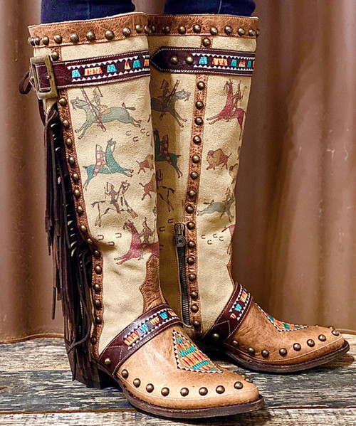 "DDL068-1 DOUBLE D RANCH LEDGER ART 16"" LEATHER LADIES BOOTS"