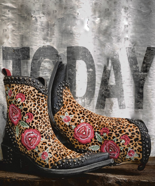 "DDBL069-1 DOUBLE D RANCH DEL RIO HAIR HIDE FLORAL EMBROIDERED 7"" LEATHER LADIES BOOTS"