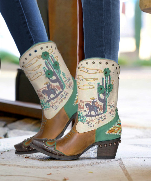"DDL073-1 DOUBLE D RANCH El Paso COLLECTOR'S 7"" LEATHER ART PRINT BOOTS"