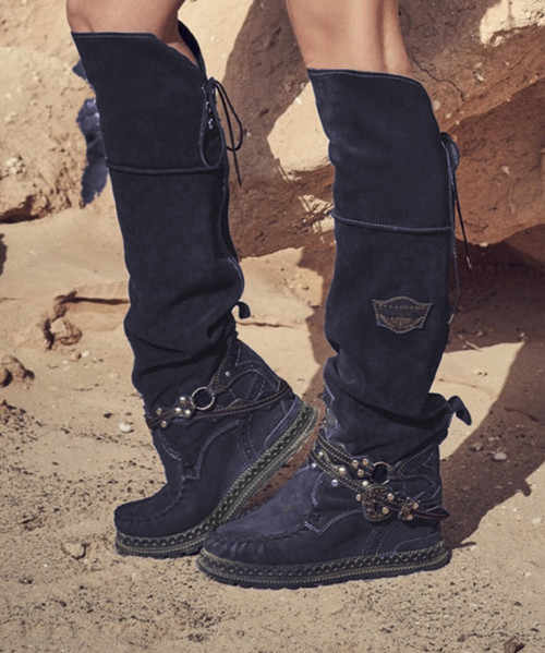 EL VAQUERO Huntress Aster Midnight Navy Black Accent Tall Boho Brushed Leather Boots $549.00