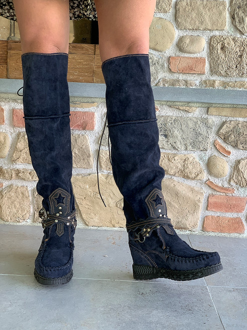EL VAQUERO Huntress Silverstone Aster Midnight Navy Black Accent Tall Boho Brushed Leather Boots
