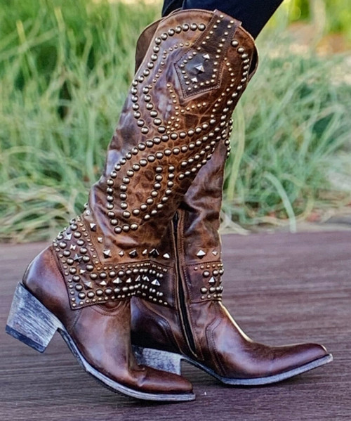 """L 903-35 RELAXED FIT OLD GRINGO BELINDA DISTRESSED SADDLE RIVETED 18"""" LEATHER BOOTS RELAXED FIT (Sintino Toe/Heel)"""