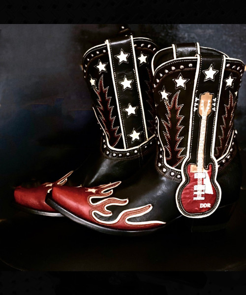 "DDL079-1 DOUBLE D RANCH RING OF FIRE BLACK RED 10"" LEATHER LADIES BOOTS"