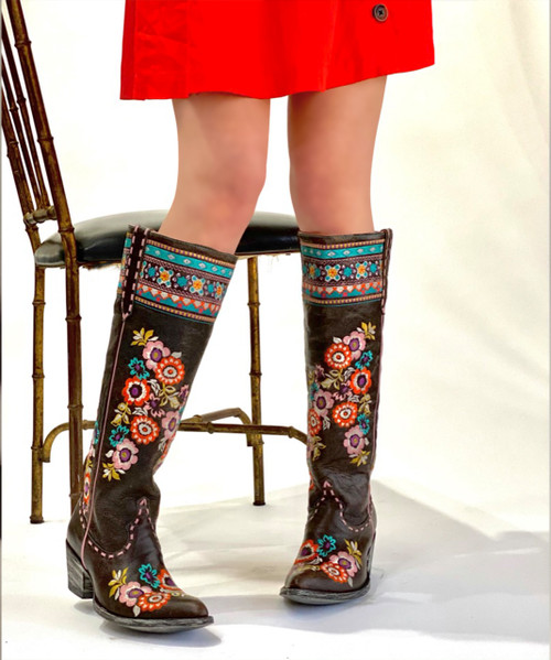 "L3346-2 OLD GRINGO PACHAMAMA EXPRESSO BROWN FLORAL EMBROIDERED 17"" TALL LEATHER BOOTS (SINTINO TOE/HEEL)"