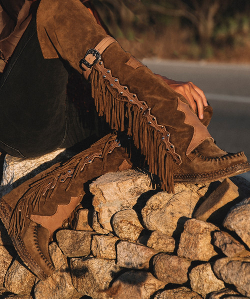EL VAQUERO Coleen Drifter Silverstone Tobacco Brown Wedge Moccasin Boots