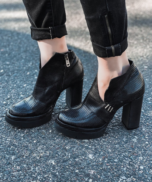 A.S.98 FORD NERO BLACK PLATFORM LEATHER BOOTS