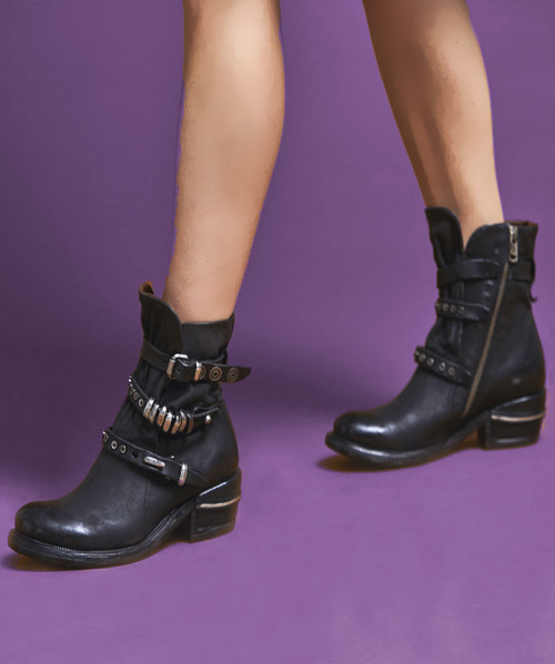 A.S.98 IVES NERO BLACK LEATHER ANKLE BOOTS