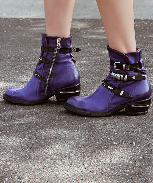 A.S.98 IVES TOXIC PURPLE LEATHER ANKLE BOOTS