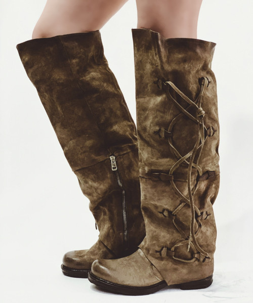 A.S.98 SPENCE TABACCO BROWN KNEE HIGH LEATHER BOOTS