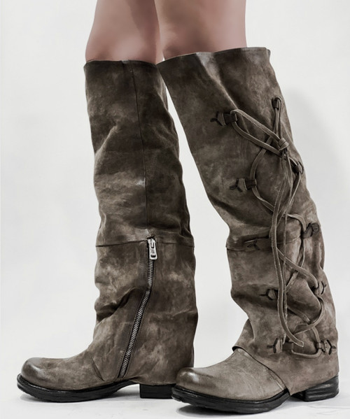 A.S.98 SPENCE FANGO GRAY KNEE HIGH LEATHER BOOTS