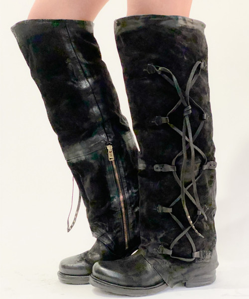 A.S.98 SPENCE NERO BLACK KNEE HIGH LEATHER BOOTS