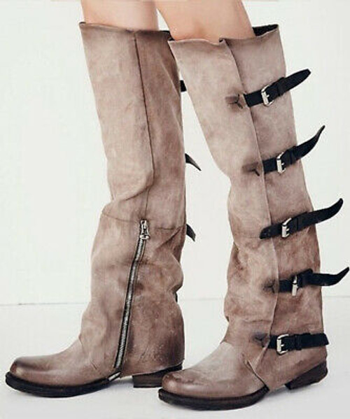 A.S.98 SHAYLYNN TATUM GRUNGE BUCKLED OVER THE KNEE FASHION LEATHER BOOTS