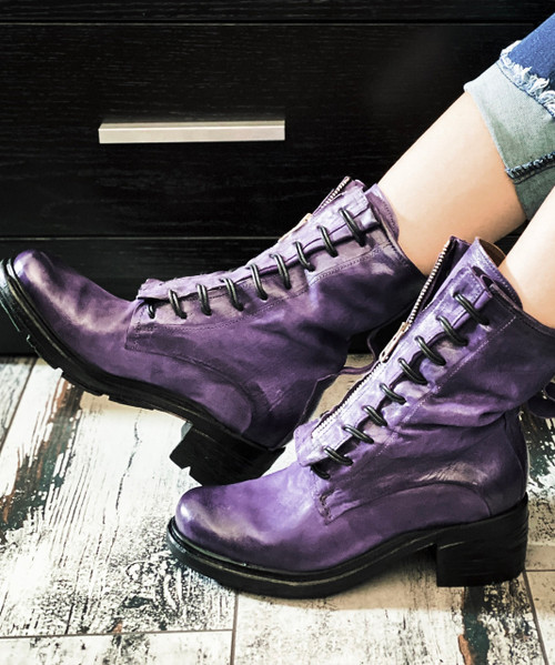A.S.98 NEEDHAM TOXIC PURPLE LEATHER BOOTS