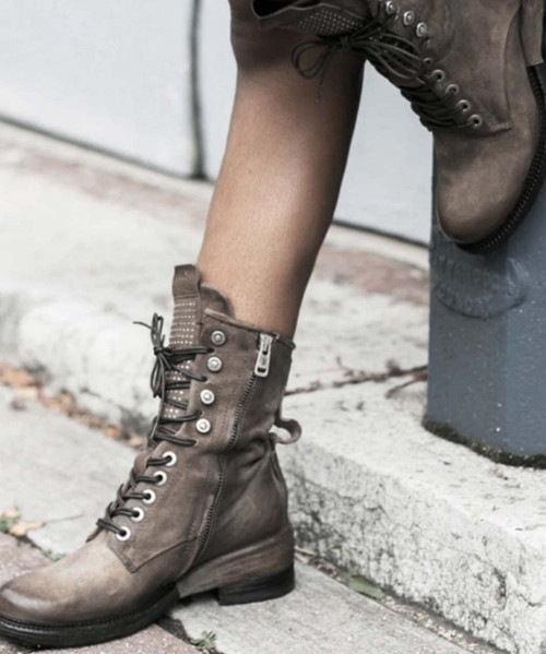A.S.98 SAUNDER SMOKE RYDER ITALIAN LEATHER BOOTS
