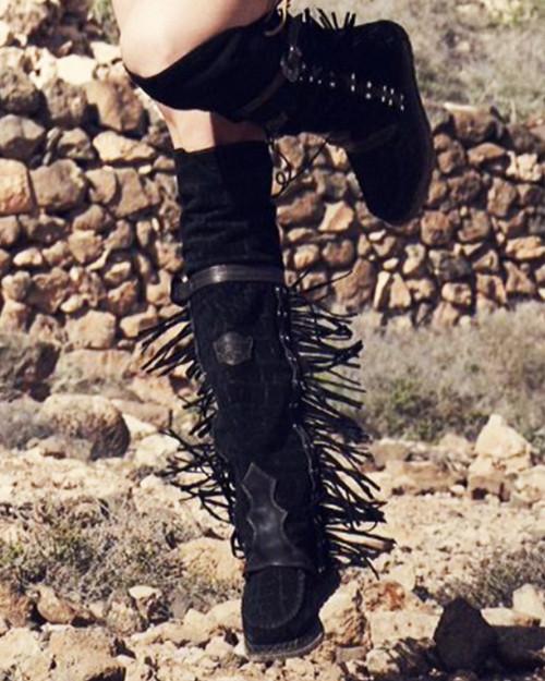 EL VAQUERO Coleen Drifter Crocus Dark Nero Black Tall Fringe Boots