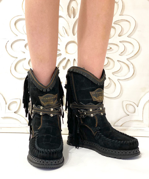 EL VAQUERO Arya Mocc Nero Black Crocus Dark Wedge Moccasin Boots