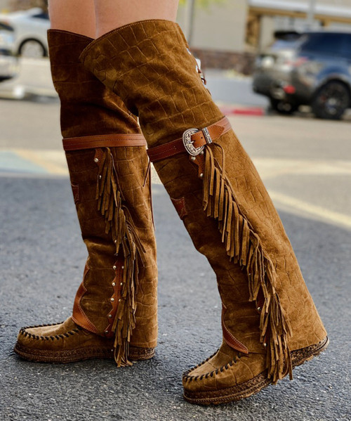 EL VAQUERO Coleen Drifter Crocus Cigar Wedge Moccasin Boots