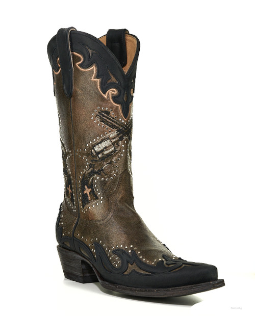 """OLD GRINGO YL 442-2 ANNIE GET YOUR GUN 6 SHOOTER TAUPE/BRONZE/BLACK 12"""" LEATHER BOOTS"""