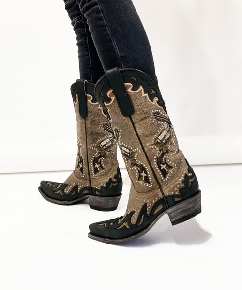 """YL 442-2 OLD GRINGO BOYD ANNIE GET YOUR GUN 6 SHOOTER TAUPE/BRONZE/BLACK 12"""" LEATHER BOOTS"""