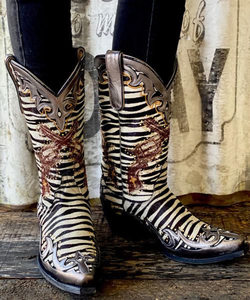 "YL 442-1 OLD GRINGO BOYD ""ANNIE GET YOUR GUNS"" ZEBRA PRINT HAIR ON HIDE 12"" LEATHER BOOTS"