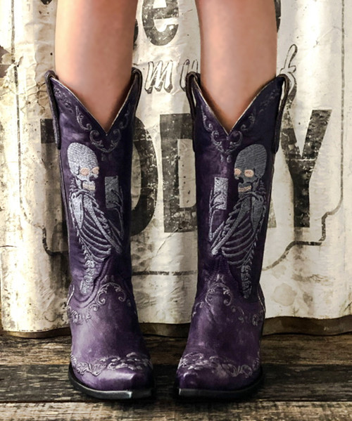 """YL 348-4 YIPPEE KI YAY BY OLD GRINGO SELFIE VIOLET PURPLE EMBROIDERED 13"""" LEATHER BOOTS"""
