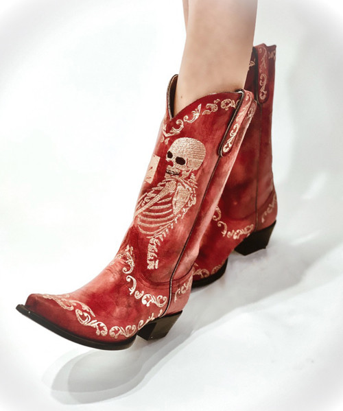 """YL 348-3 YIPPEE KI YAY BY OLD GRINGO BOOTS SELFIE CHERRY RED EMBROIDERED 13"""" LEATHER BOOT"""