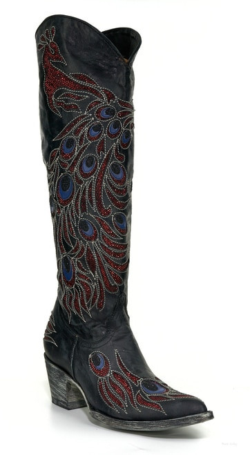 """L2839-2 RF OLD GRINGO PEACOCK VESUVIO BLACK MULTI 18"""" LEATHER BOOTS (RELAXED FIT)"""