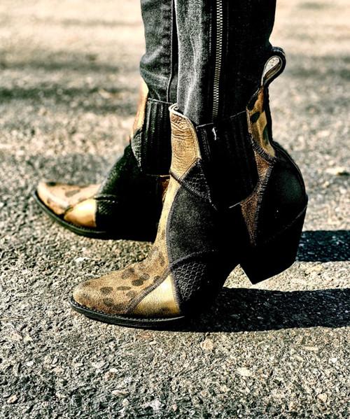 "YBL 423-1 OLD GRINGO GIANNA BLACK GOLD CHEETAH PRINT 7"" LEATHER SHOE BOOT"