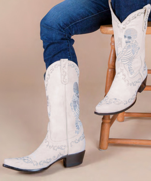 "YL 348-5 YIPPEE KI YAY BY OLD GRINGO BOOTS SELFIE WASHED WHITE EMBROIDERED 13"" LEATHER BOOT"