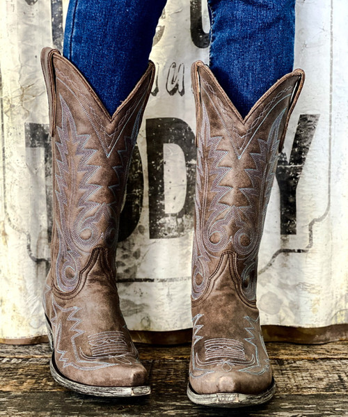 "L 175-447 OLD GRINGO NEVADA VINTAGE CHOCOLATE BLUE EMBROIDERED 13"" LEATHER BOOTS"