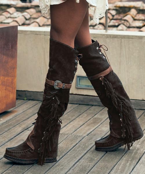 EL VAQUERO Coleen Drifter Silverstone Ebony Wedge Moccasin Boots