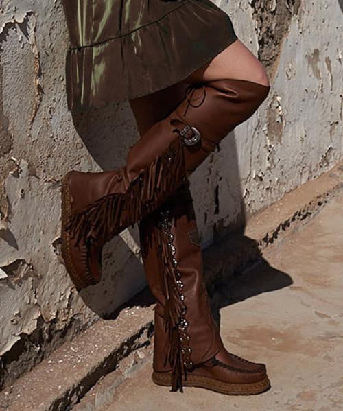 EL VAQUERO Coleen Drifter Aged Cognac  Wedge Moccasin Boots