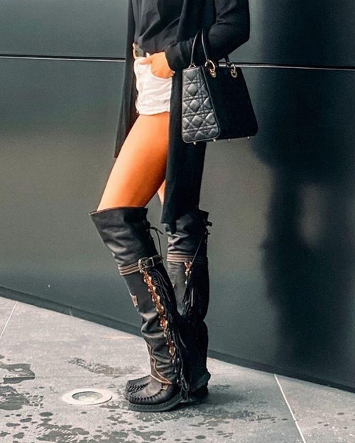 EL VAQUERO Coleen Drifter Aged Void Black  Wedge Moccasin Boots