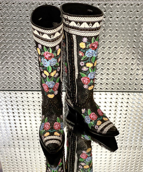 "DDL085-1 DOUBLE D RANCH MARIACHI BLACK FLORAL 17"" TALL BOOTS"